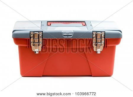 Red plastic tool box. Isolated on white