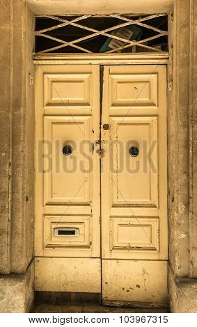 Traditional exterior door in Malta. The historic center of Valletta