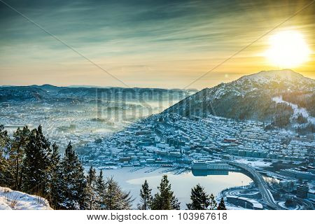 beautiful winter view on Bergen. Norway