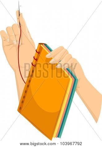 Illustration of a Hand Binding a Book Manually