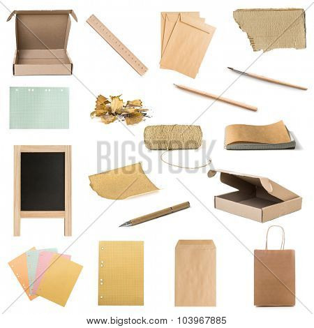 collage of stationery and wooden and paper things isolated on white background
