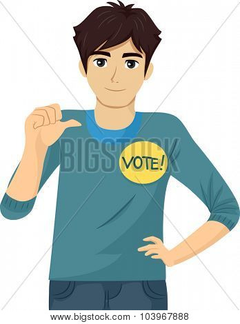 Illustration of a Teenage Student Council Candidate Promoting Himself