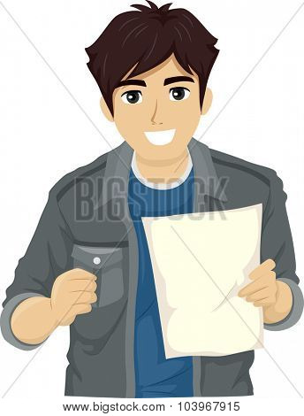 Illustration of a Teenage Guy Smiling Happily After Reading a Piece of Paper