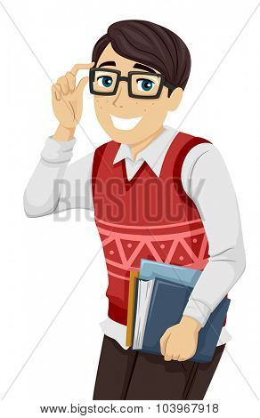 Illustration of a Geeky Teenage Boy Lifting His Glasses