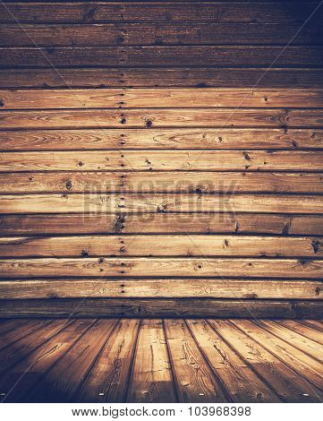old wooden interior, retro filtered, instagram style