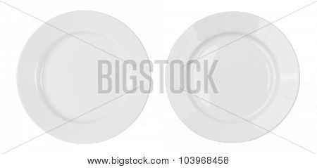 white plates isolated on white with clipping path included