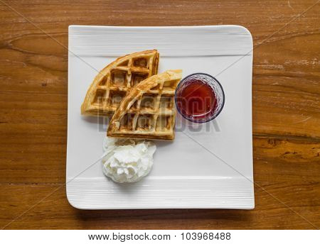 Waffles  on table