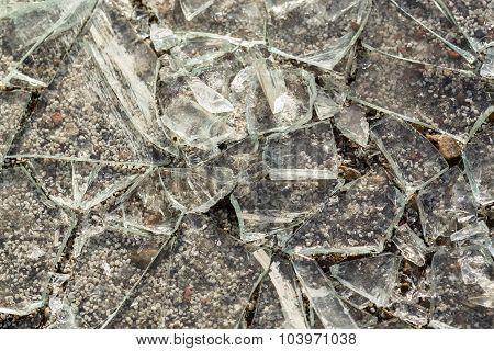 Closeup Macro Of Broken Glass