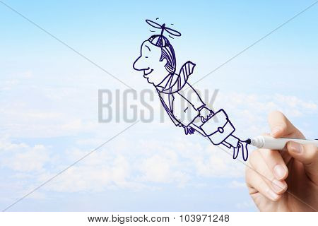 Man hand drawing caricature of businessman flying away