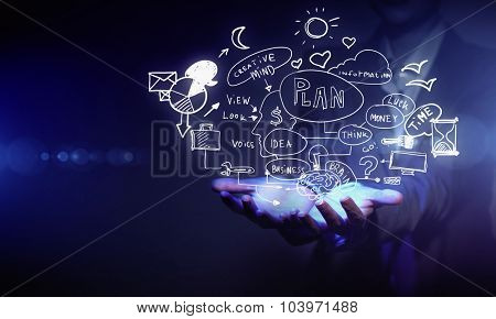 Businessperson hands presenting business idea sketch on palms