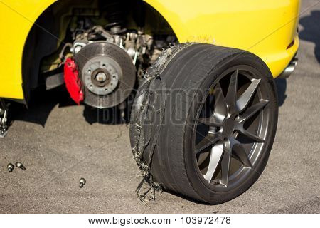 Accident car wheels.