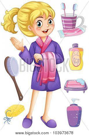 Woman in bathrobe and bathroom set illustration