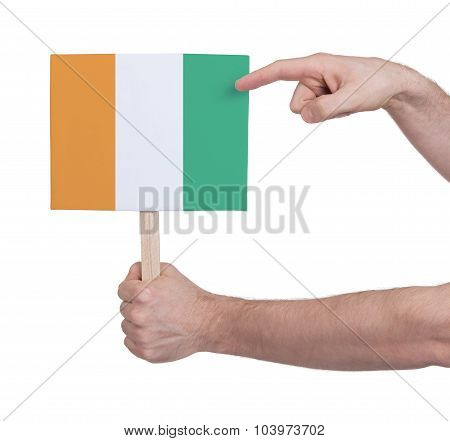 Hand Holding Small Card - Flag Of Ivory Coast