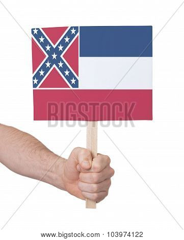 Hand Holding Small Card - Flag Of Mississippi