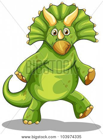 Green rubeosaurus standing on two legs illustration