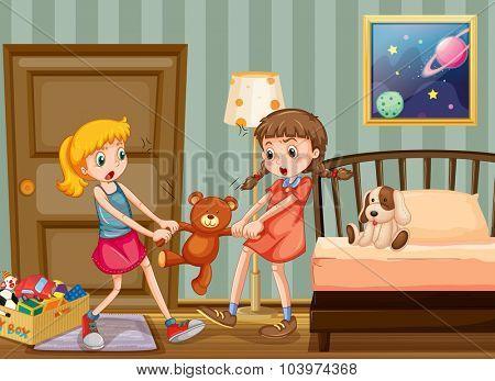 Two girls pulling teddy bear in bedroom illustration