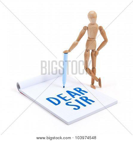 Wooden Mannequin Writing - Dear Sir