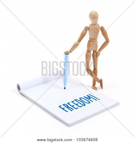 Wooden Mannequin Writing - Freedom