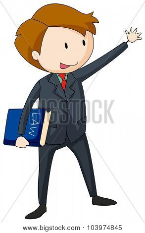 Lawyer in suit carrying a law book illustration
