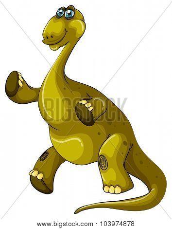 Green brachiosaurus standing on two legs illustration
