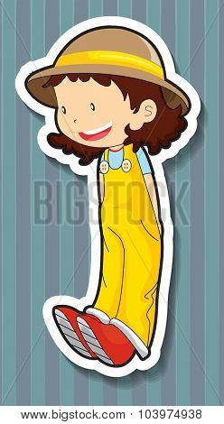 Little girl wearing overall and hat illustration