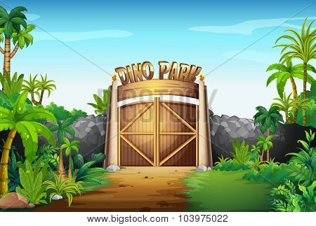The gate of dino park illustration