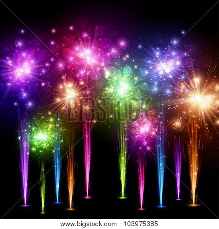 Festive color firework on black background. Vector illustration.