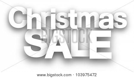 Christmas sale paper sign over white background. Vector illustration.