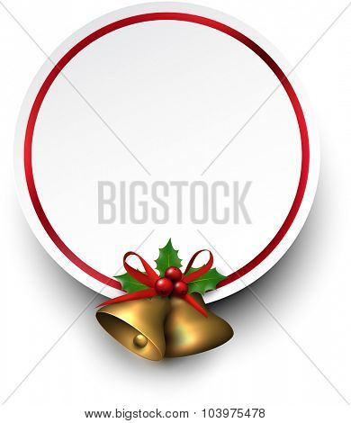 Paper card with golden christmas bells and place for text. Holly berries. Vector illustration.