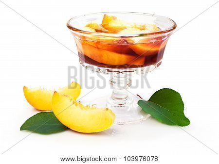 Peach Jam And Fresh Fruits