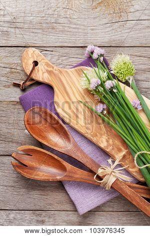 Fresh herbs and spices on garden table. Top view