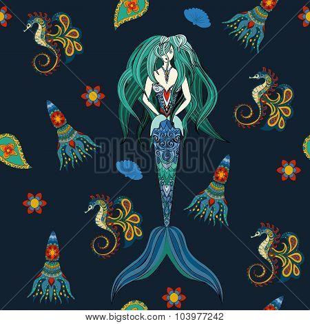 Hand drawn Ornamental Mermaid, sea-horse and calmar.