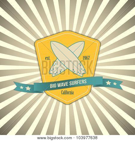 Vector surf badge on outburst background. T-shirt surfboard vintage graphic design. Inspirational sp