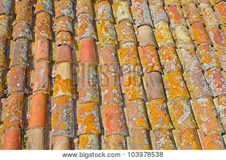 Close up of old rust red roof texture tile. Architecture background