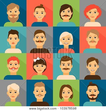Avatar app icons. User hipster face set