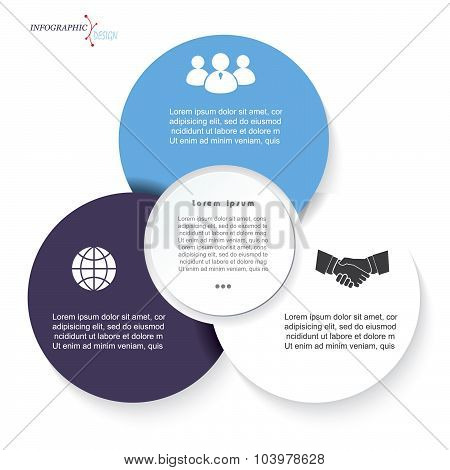 Infographic Circles Business  Template For  Project Or Presentation With Three Segments.