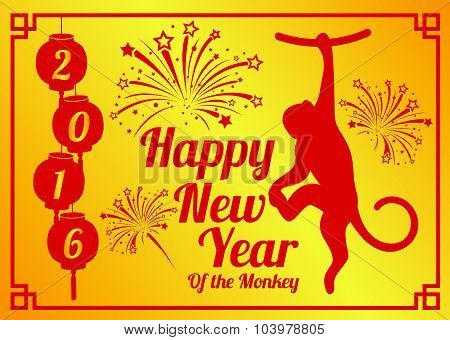 Happy new year 2016 of the monkey