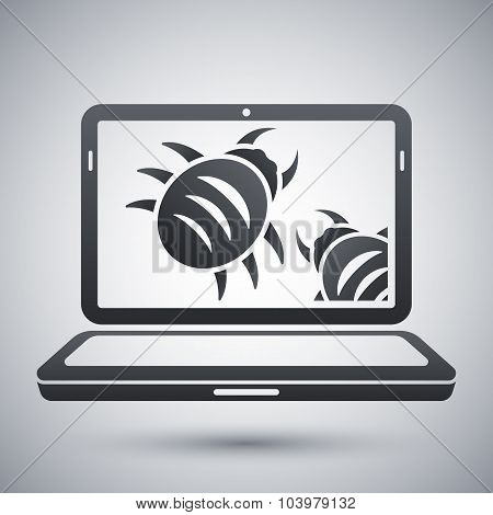 Laptop Is Infected By Malware, Vector Illustration