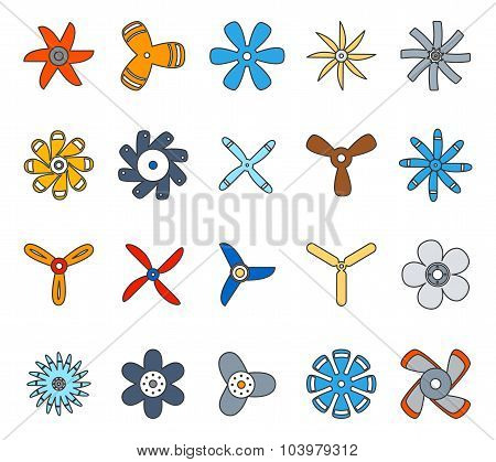 Propeller and paddle flat icons