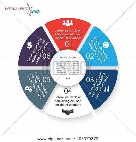 Infographic Template With 6 Segments For Business Project Or Presentation. Vector Illustration