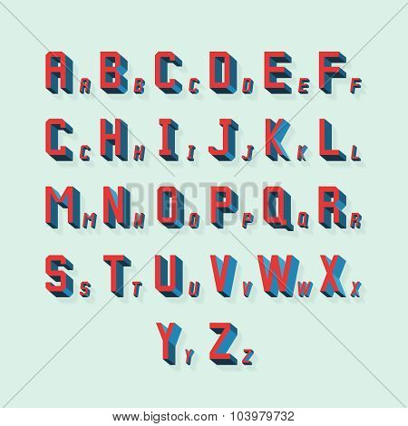 Vector retro volumetric 3d alphabet