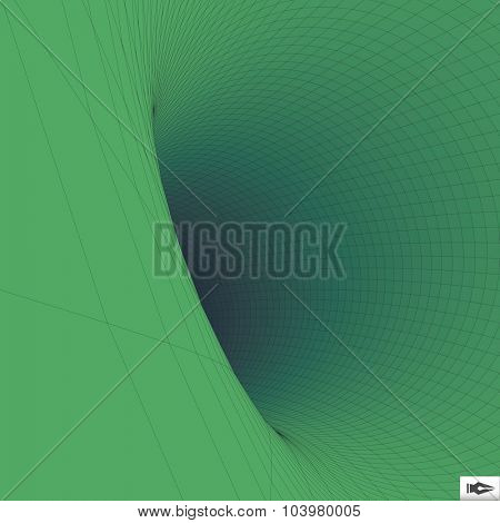 Abstract 3d Surface Looks Like Funnel. Mosaic. Futuristic Technology Style. Perspective Grid Background Texture. Vector Illustration.