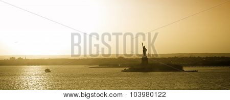Liberty Statue In New York Panorama
