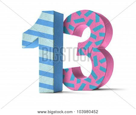 Colorful Paper Mache Number On A White Background  - Number 13