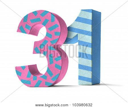 Colorful Paper Mache Number On A White Background  - Number 31