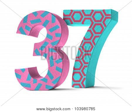 Colorful Paper Mache Number On A White Background  - Number 37