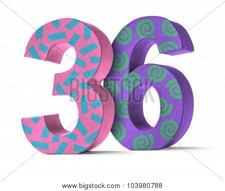 Colorful Paper Mache Number On A White Background  - Number 36