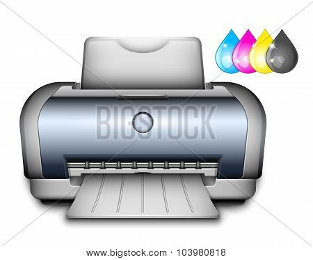 Printer Icon With Ink Drops. Vector Illustration