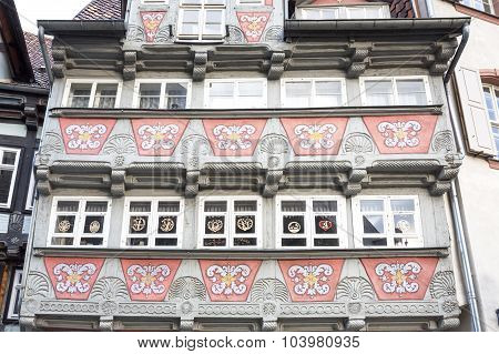 Historic half-timbered house in Quedlinburg town, Germany