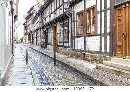 Alleyway with residential houses in Quedlinburg town, Germany